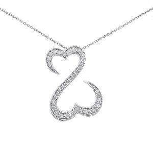 """Double Heart Diamond Pendant With 18"""" Link Chain"""